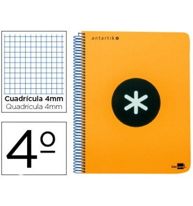 SPIRAL NOTEBOOK LIDERPAPEL A5 ANTARTIK HARDCOVER 80H 100 GR TABLE 5MM WITH MARGIN COLOR ORANGE