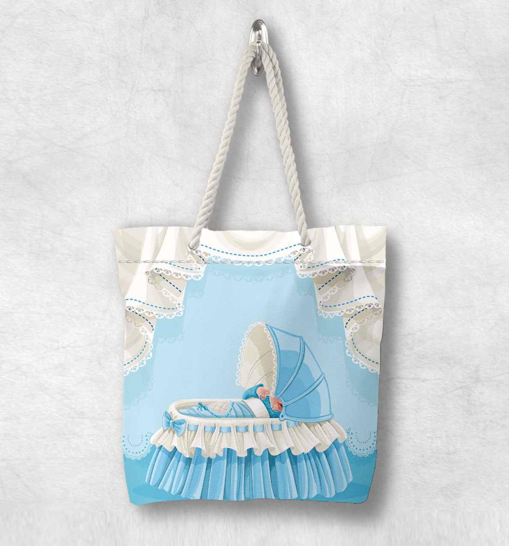 Başka bir mavi beyaz küçük bebek beşiği yeni moda beyaz halat kolu kanvas çanta karikatür baskı fermuarlı Tote çanta omuzdan askili çanta