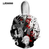 LIASOSO 3D Drucken Unisex Anime Naruto Akatsuki Uchiha Itachi Deidara schmerzen Mit Kapuze Hoodies Sweatshirts Zipper Jacke X2650