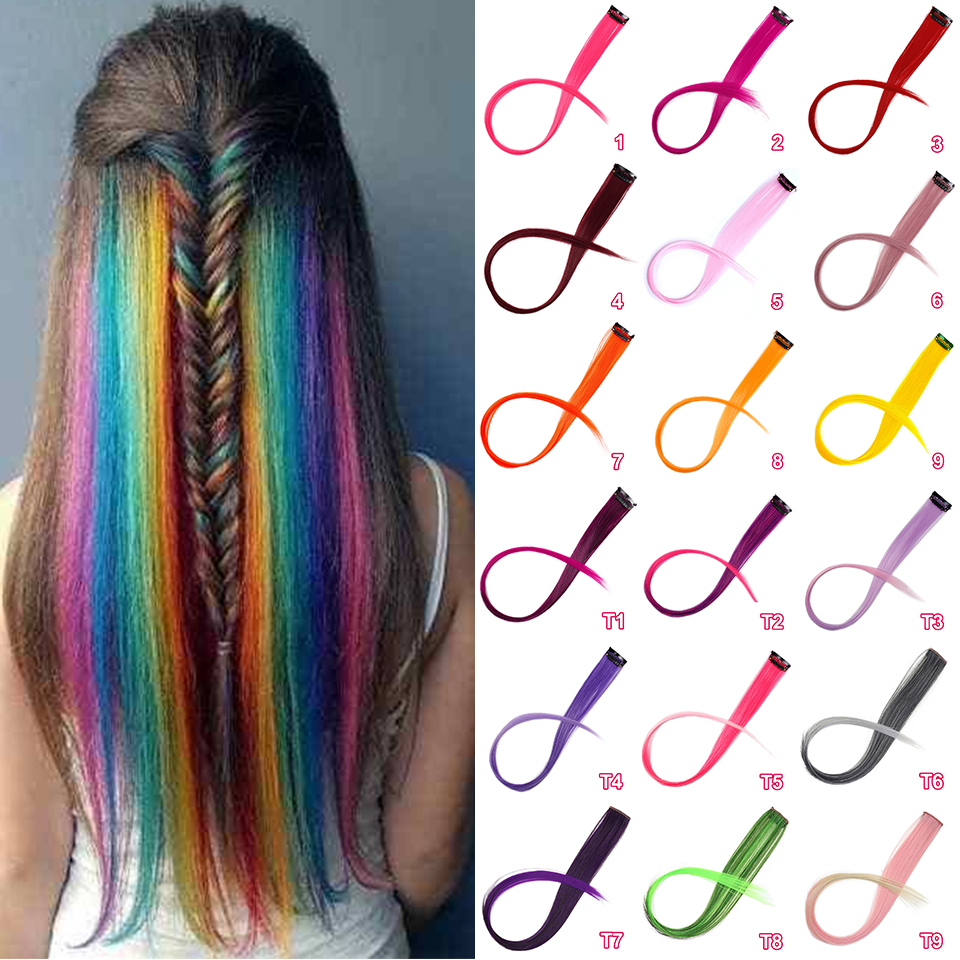 Stamped Glorious Clip-In One Piece Hair Extensions For Pure&Ombre Color Long Straight Synthetic Hair
