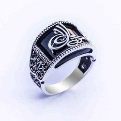 925 sterling Silber Ottomane Tuğralı Onyx Edelstein Ring