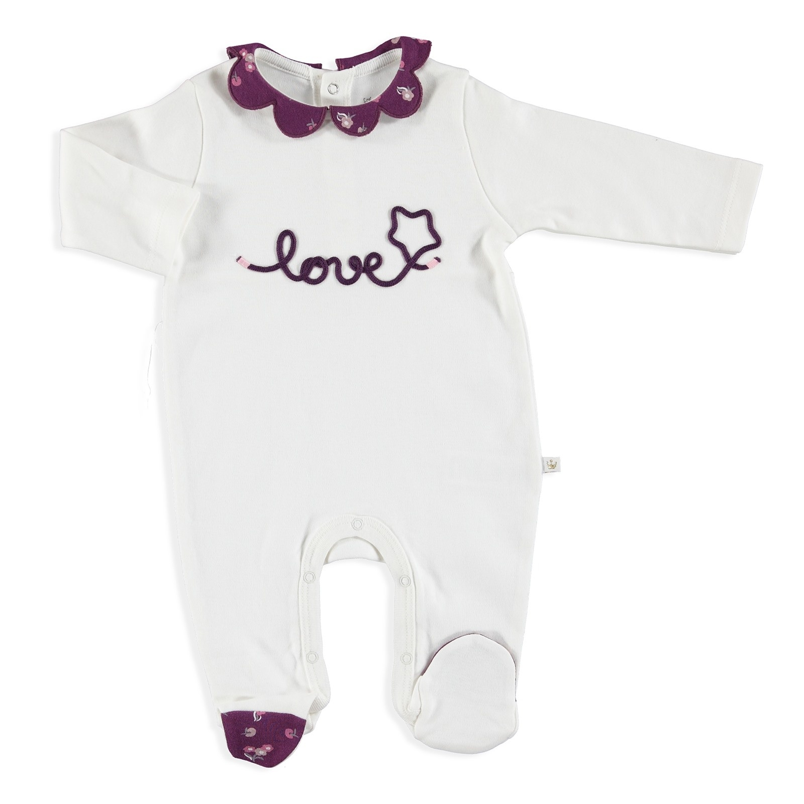 Ebebek For My Baby Winter Daisy Collar Footed Romper