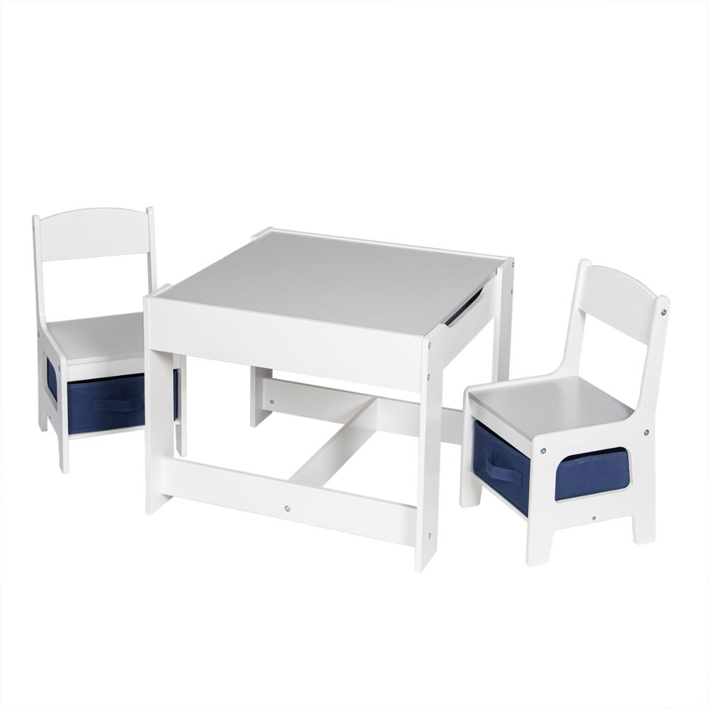 1SET Wood Children Table with 2 Chairs Kindergarten Baby Games Home Painting Desk Children's Furniture with Storage Space