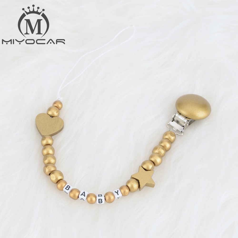 MIYOCAR Personalized Any Name All Gold  Luxurious Wooden Beads Dummy Clip Holder Pacifier Clips Holder/Teethers Clip  For Baby