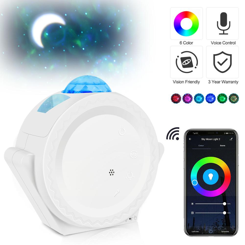 Wifi Starry Sky Projector Star Night Light Projection 6 Colors Ocean Lights 360 Degree Rotation Night Lighting Lamp for Kids