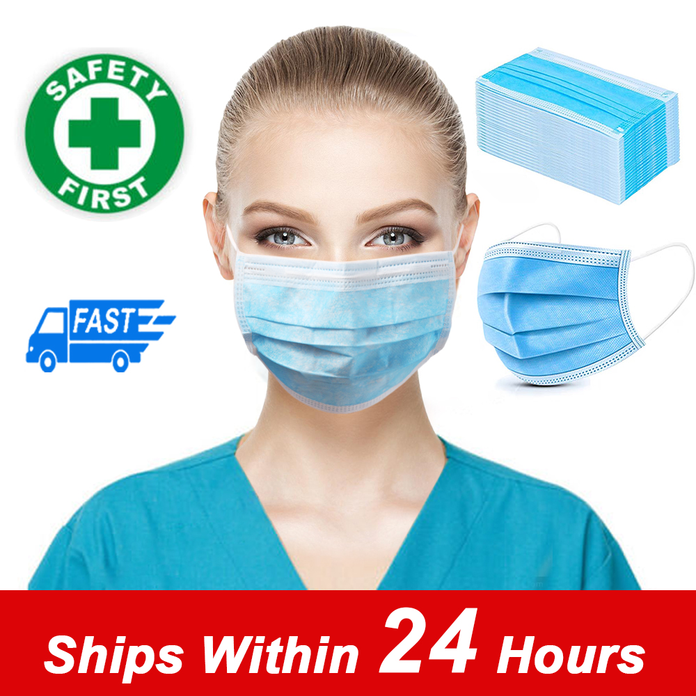 In Stock 100 PCS Hot Sale Fast Delivery 3 Layer Disposable Protective Mask Dustproof Mask Meltblown Cloth Mask