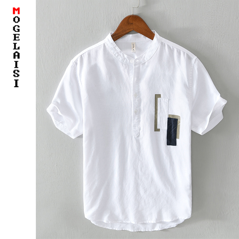New white shirt men short sleeve 100% linen shirts tops fashion Stitching summer Breathable solid shirt man chemise homme 567