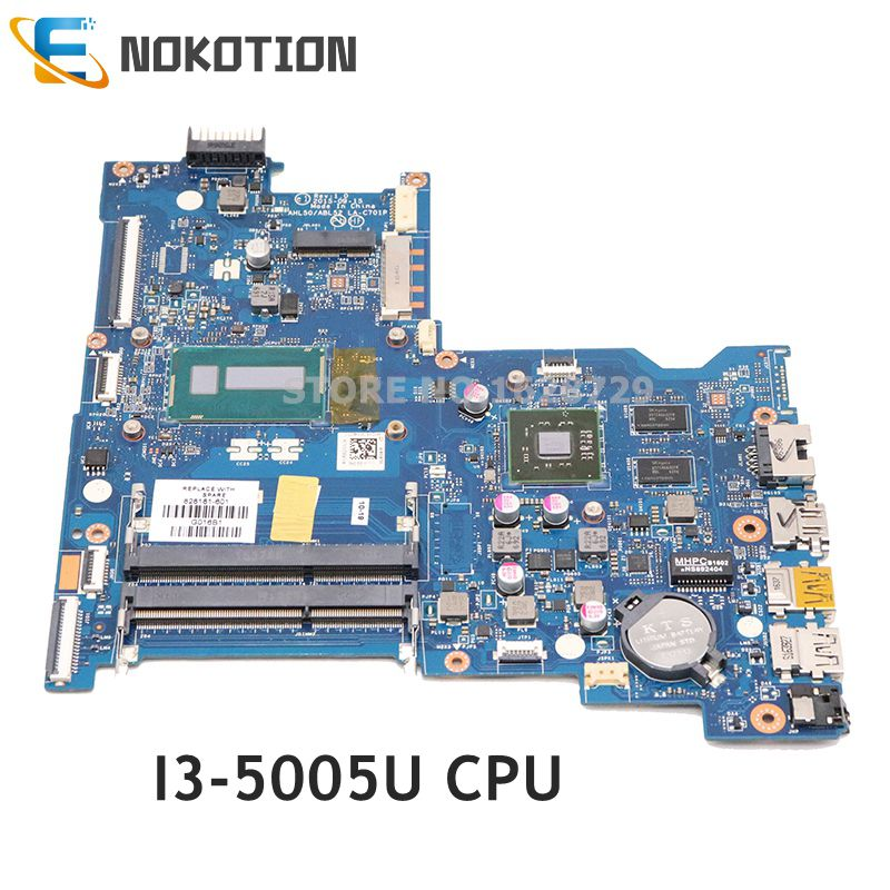 NOKOTION 828181-601 828181-001 For HP 15-AC 15-AY Laptop motherboard AHL50 ABL52 LA-C701P <font><b>SR27G</b></font> i3-5005U CPU R5 M330 GPU image
