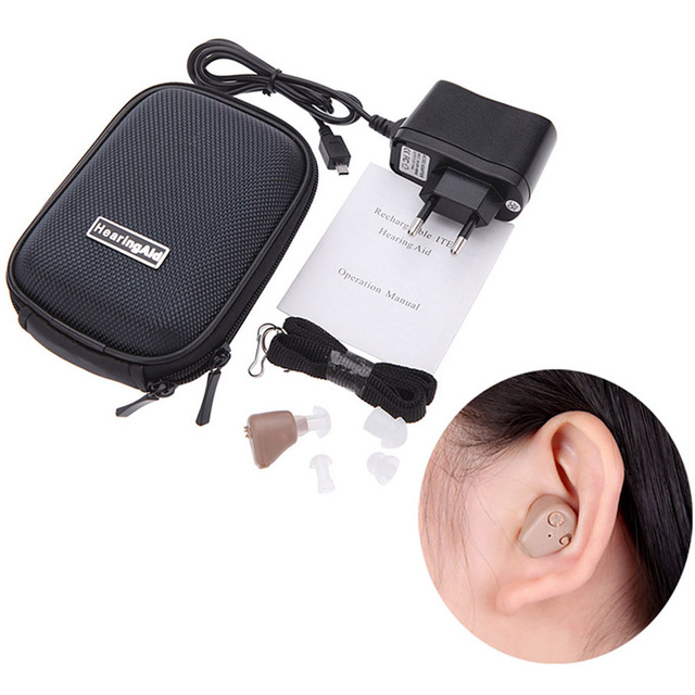 Mini Pocket Hearing Aid Adjustable Digital In Ear Hearing Aids Behind The Ear Sound Amplifier Rechargeable For The Elderly