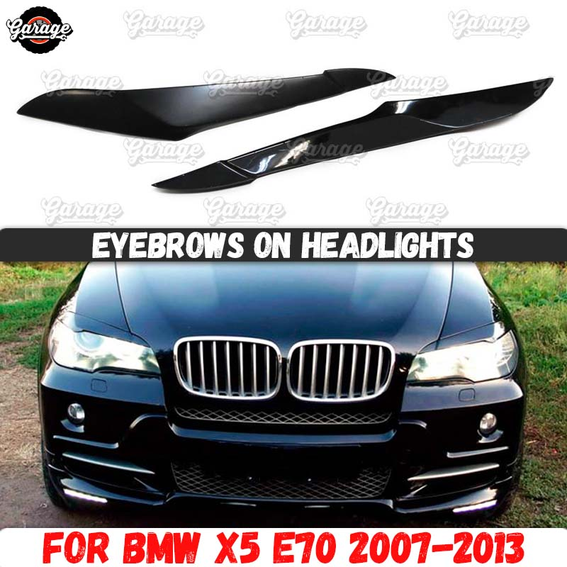 Eyelids for headlights case for BMW X5 E70 2007-2013 broad style ABS plastic pads cilia eyebrows accessories car styling tuning