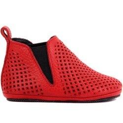 Voile Lakers-chaussure bébé en cuir rouge