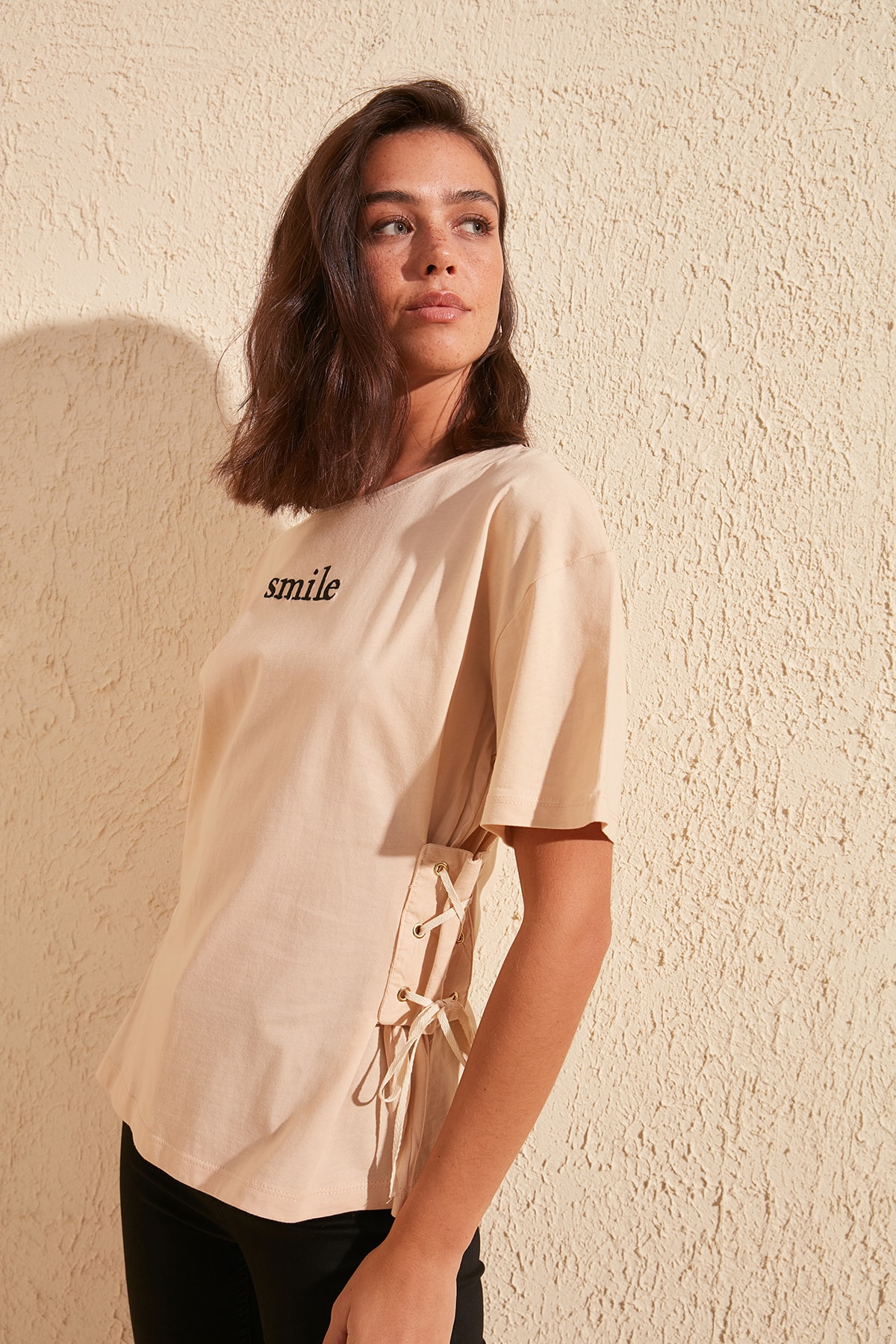 Trendyol Eyelet And Embroidery Detail Basic Knitted T-Shirt TWOSS20TS0445