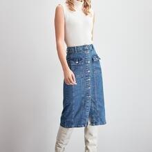 Trendyol с декоративной строчкой джинсовая юбка TWOAW20ET0330