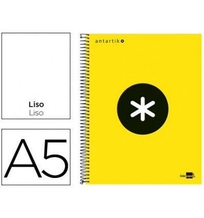 SPIRAL NOTEBOOK LEADERPAPER A5 MICRO ANTARTIK LINED TOP 120H 100G SMOOTH BANDED 6 DRILLS YELLOW F