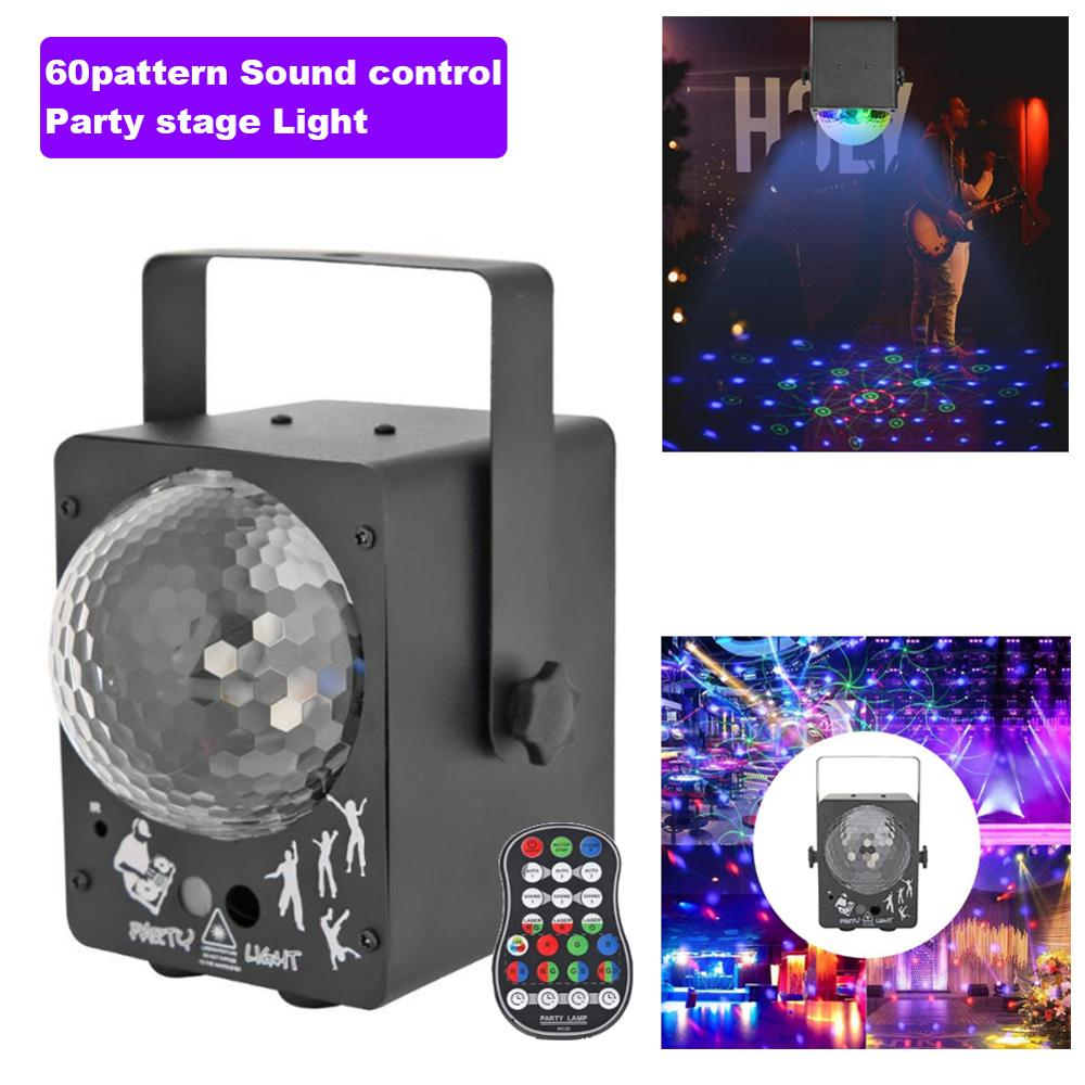 60/90pattern RGB Disco Christmas Light Laser Projector Stage Light DJ Sound Control Home Wedding LED Party Lights Decoration