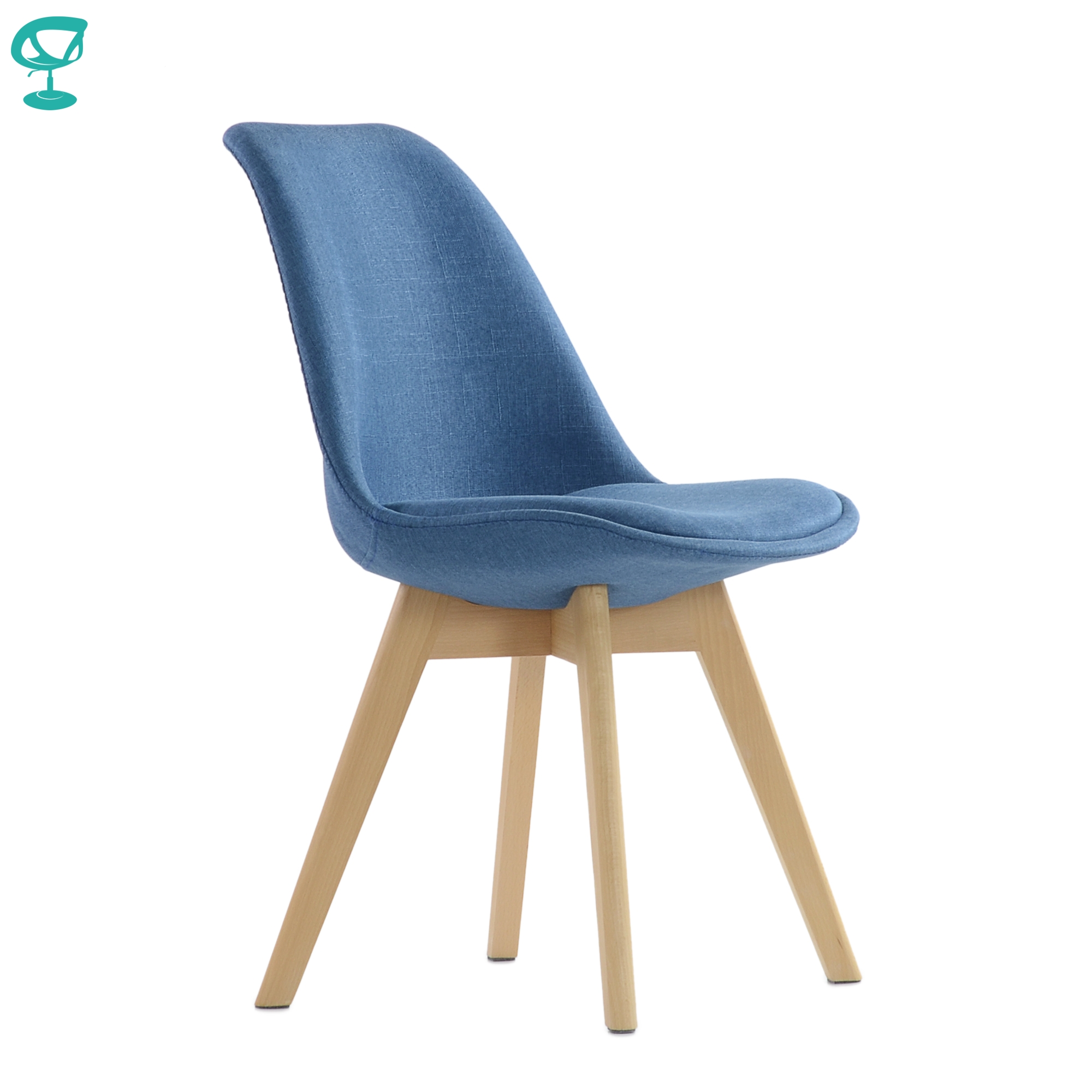 95738 Barneo N-22 Kitchen Blue Chair On Wooden Base Seat Fabric Chair For Living Room Chair Dining Furniture For Kitchen