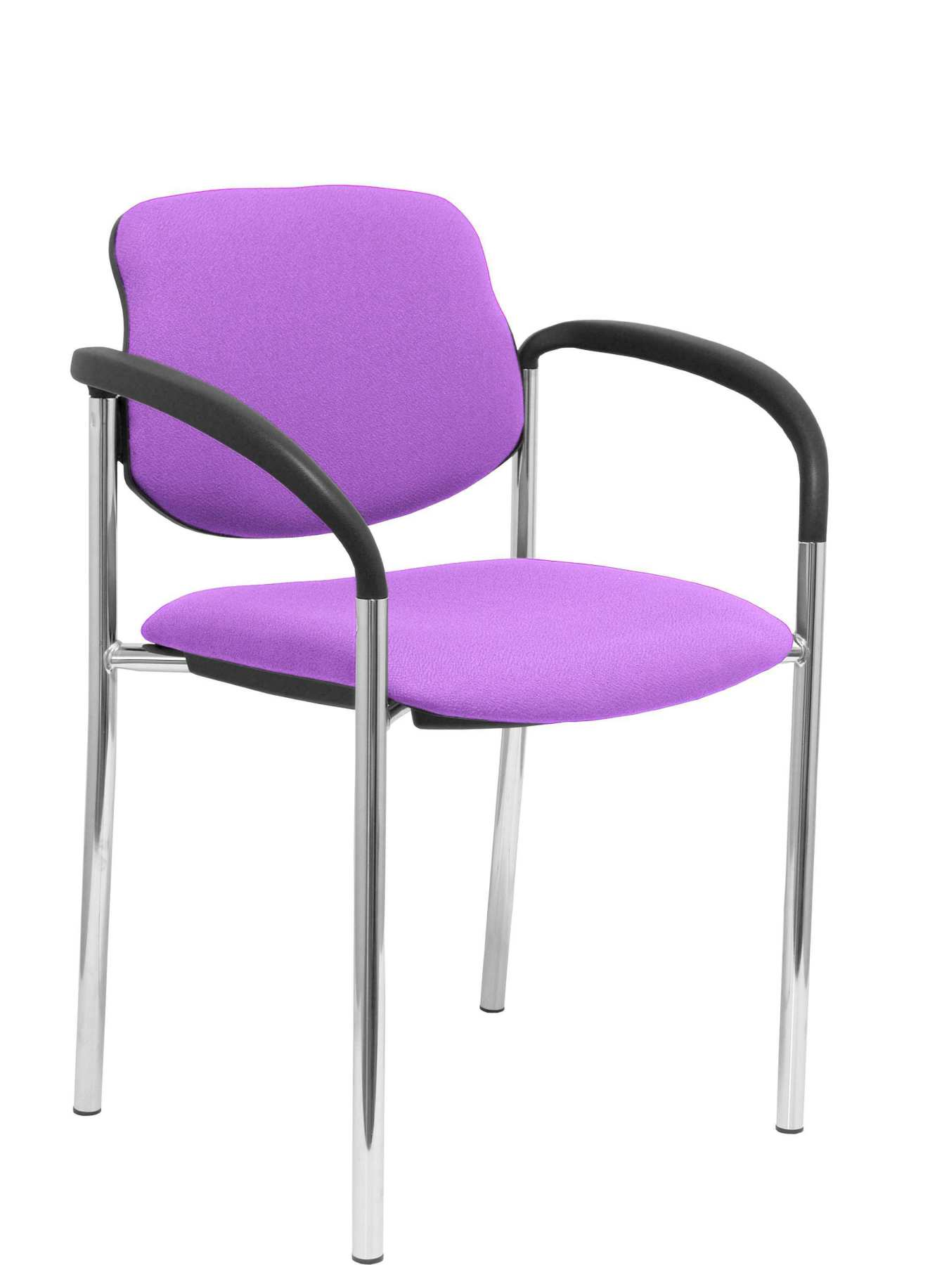 Confident Chair 4-leg And Estructrua Chrome Arms-Seat And Back Upholstered In Fabric BALI Lilac PIQ