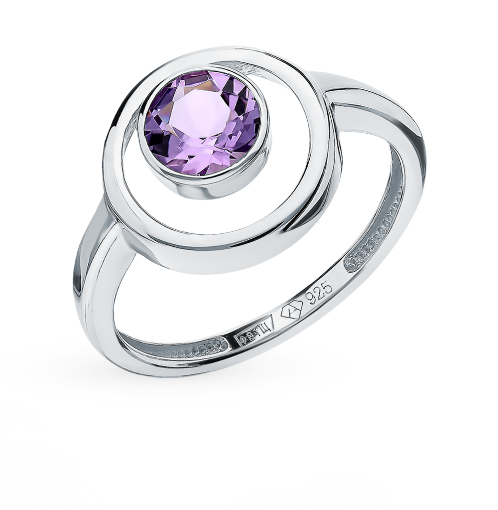 Silver Ring With Amethyst SUNLIGHT Test 925