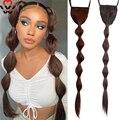 Длинные накладные волосы на кулиске для конского хвоста, пять длин, синтетические натуральные накладные волосы для женщин, черные, коричнев...