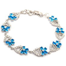 21x10mm Elegant 15g Created Paris Blue Topaz White CZ Woman's Present Silver Bracelet 6.5-7.5 inch