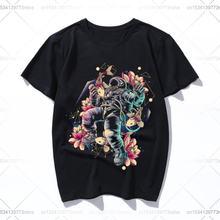 Хлопковая летняя Свободная Женская/мужская футболка с глубоким