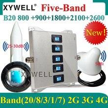 B20 800 900 1800 2100 2600 amplificador de sinal celular celular 3g 4g celular lte repetidor 2g 3g 4g gsm de cinco faixas