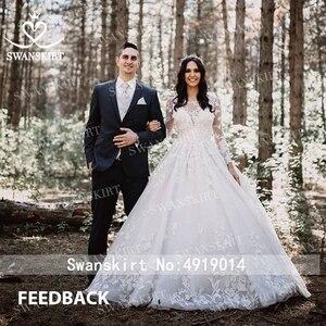 Image 3 - Swanskirt רומנטי 3D אפליקציות חתונת שמלת 2020 סקופ צוואר ארוך שרוול כדור שמלת אשליה הכלה שמלת Vestido דה Noiva K186