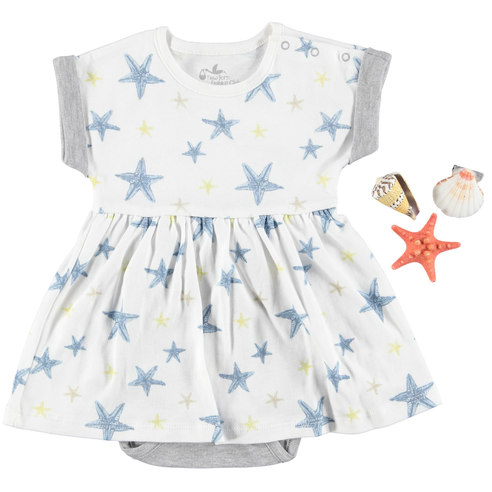 Ebebek Newborn Fashion Club StarFish Baby Girl Dress Bodysuit