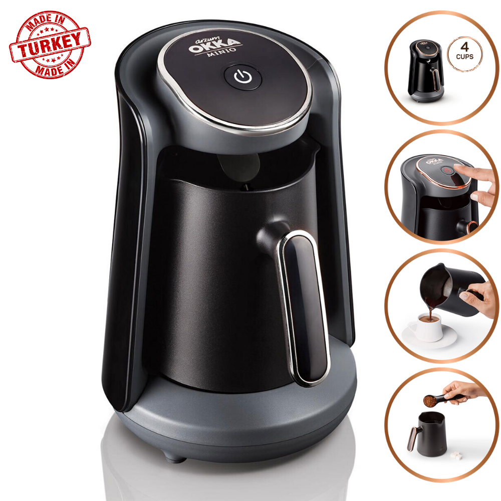 Arzum Okka Minio OK004 Automatic Turkish Coffee Maker Machine, 4 Cups Capacity (300 ML.) Washable Coffee Pot, Sound Alert System