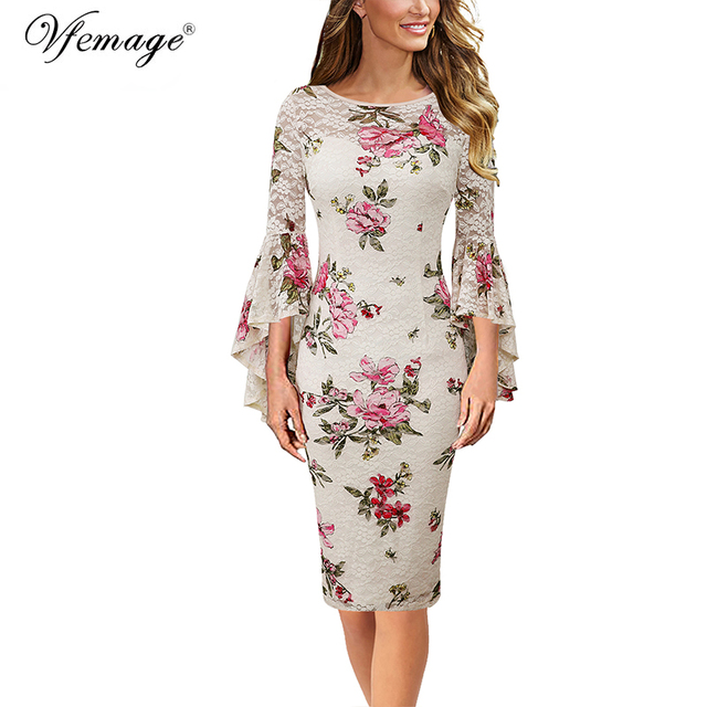 Vfemage Womens Elegant Lace Print Flare Bell Sleeve Fashion Vintage Pinup Formal Party Cocktail Bodycon Pencil Sheath Dress 1222