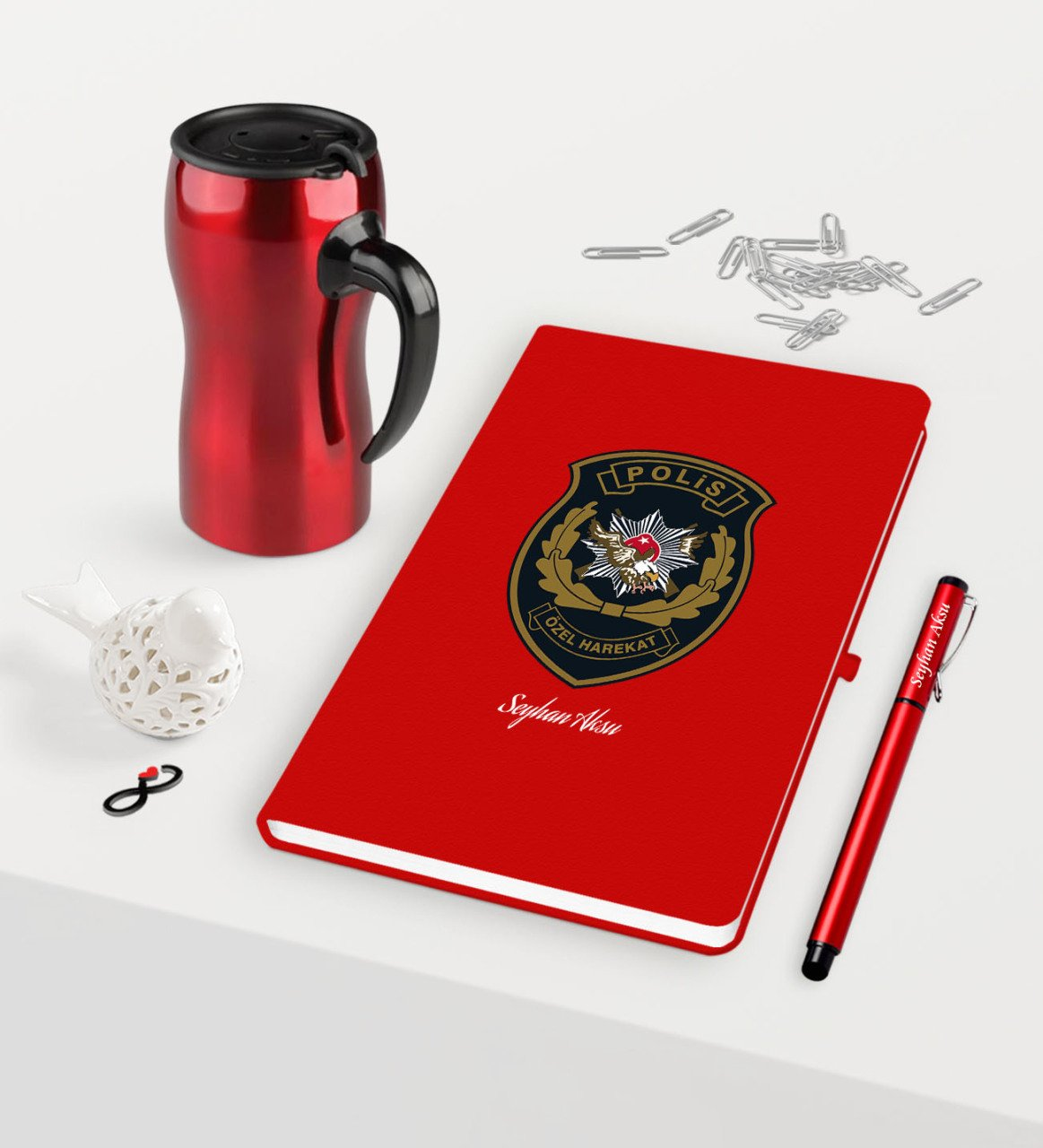 Personalized Police Special Harekat Themed Red Notebook Pen Thermos Mug Set