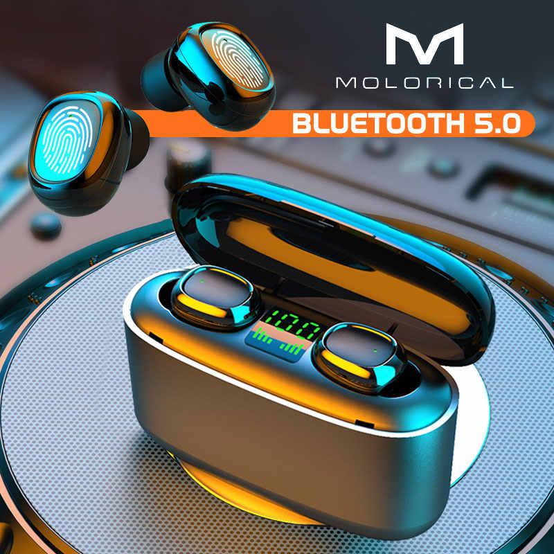 MOLO Nirkabel Bluetooth Earphone Kontrol Sentuh Headset LED Display Pengisian Stereo Earbud TWS Headphone untuk Laptop Smartphone