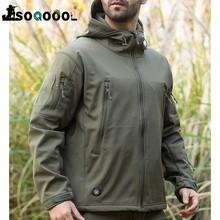 SOQOOOL-Chaqueta militar táctica de piel de tiburón para hombre, abrigo de lana impermeable, ropa del ejército, cazadora de camuflaje