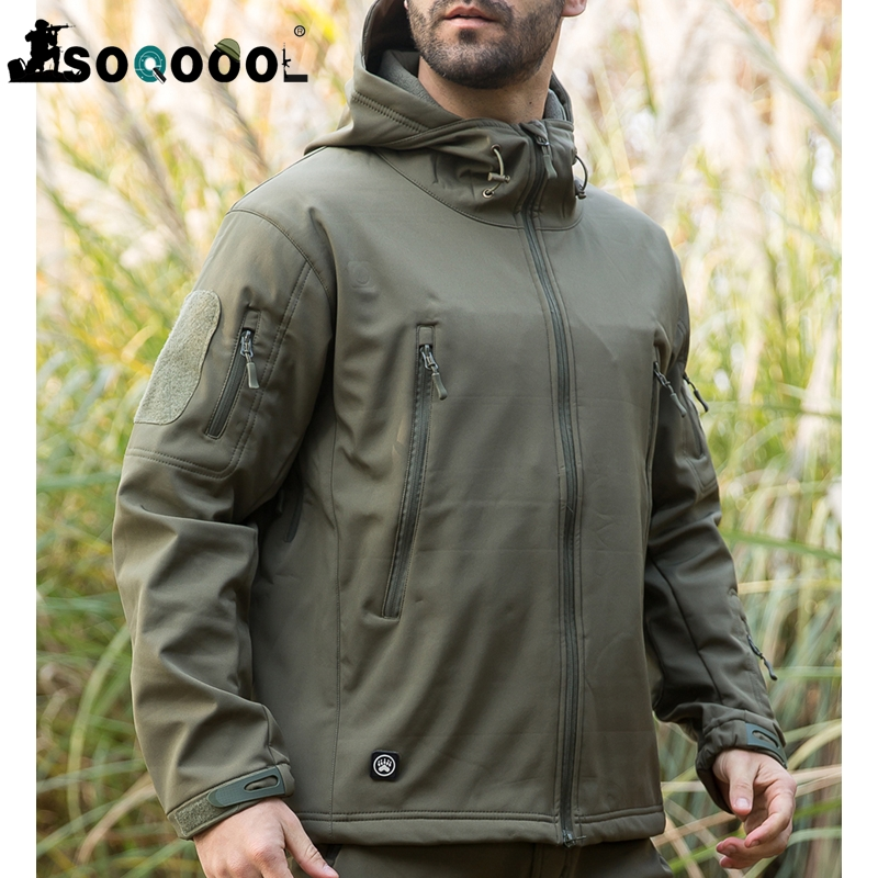 SOQOOOL, chaqueta militar táctica de piel de tiburón suave, chaqueta de lana impermeable para hombres, ropa de ejército, chaqueta cazadora de camuflaje