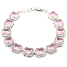 14x14mm Romantic 31g Created Pink Kunzite White CZ Gift For Woman's Silver Bracelet