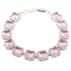 14x14mm romantyczny 31g utworzono różowy Kunzite biały CZ prezent dla kobiety srebrna bransoletka 8.5-9.5 cala