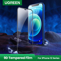 Protetor de tela ugreen, película de vidro com cobertura total para iphone 12 pro max iphone 12 mini 9d, iphone 12 11 pro max