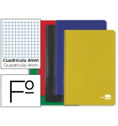 SPIRAL NOTEBOOK LEADERPAPER HARDCOVER FOLIO 80H 60 GR FRAME 4MM MARGIN ASSORTED COLORS 10 Pcs