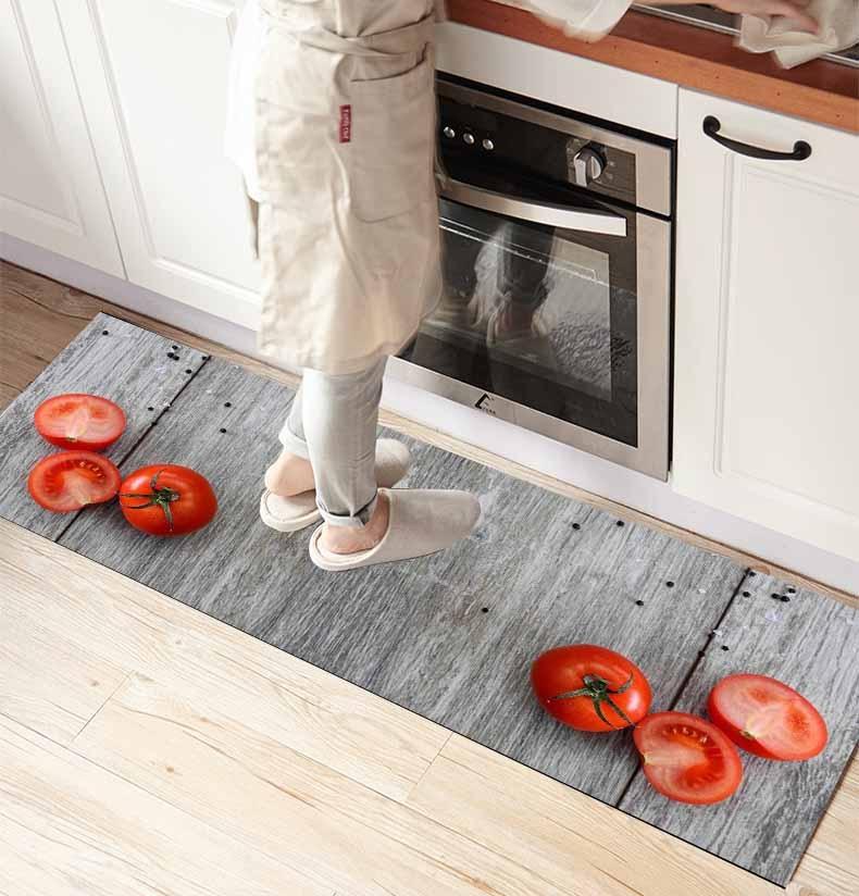Ev ve Bahçe'ten Halı'de Başka bir kahverengi ahşap kırmızı domates 3d baskı kaymaz mikrofiber ön mutfak sayacı Modern dekoratif yıkanabilir alan kilim Mat title=