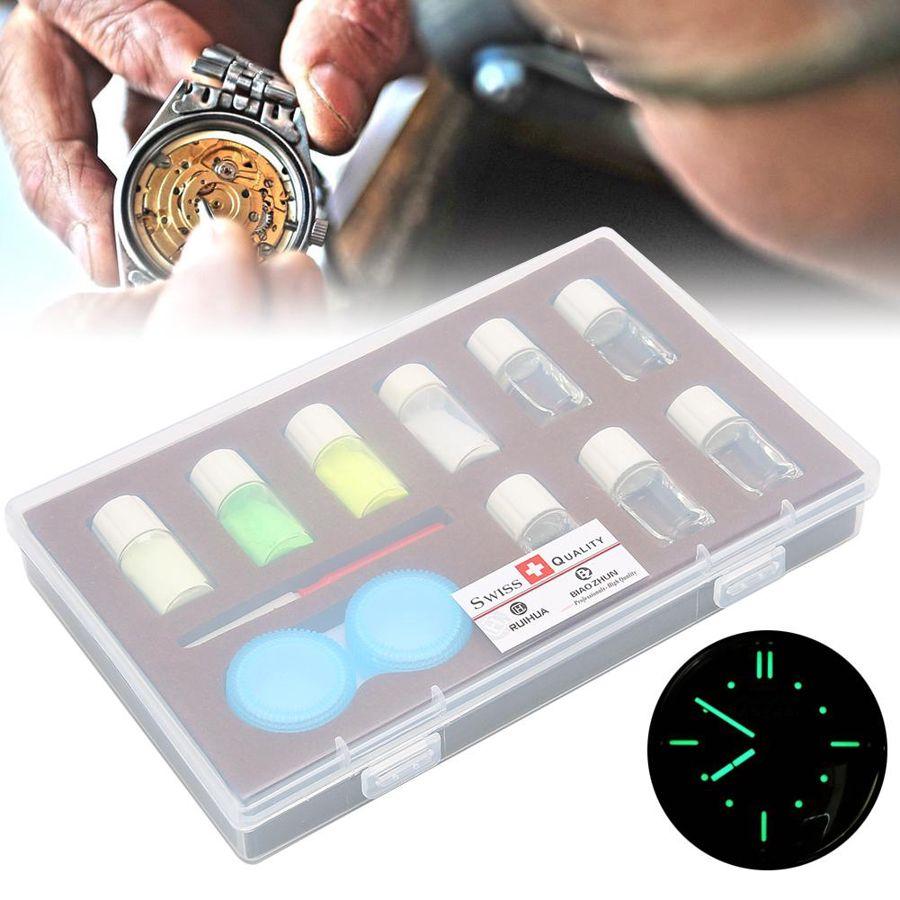 4 cores profissional relógio de pó fluorescente luminosa relógio reparação kit ferramenta venda quente