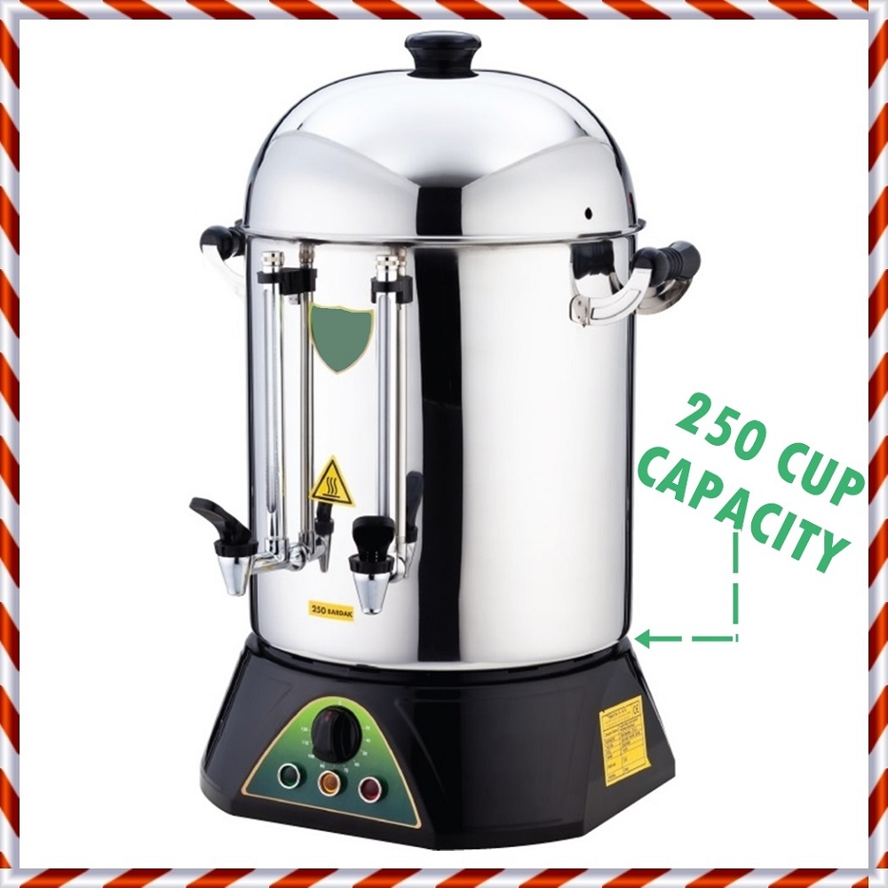 TEMP CONTROL - 250 CUP CAPACITY- Commercial  Electric Hot Water Turkish Tea / Coffee Maker Brewer Brewing Machine Urn Percolator