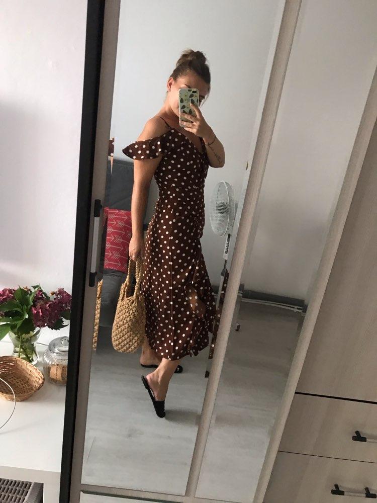 Women Summer Brown Polka Dots Dress Vintage Ruffles Midi Dress Beach Style Dresses photo review