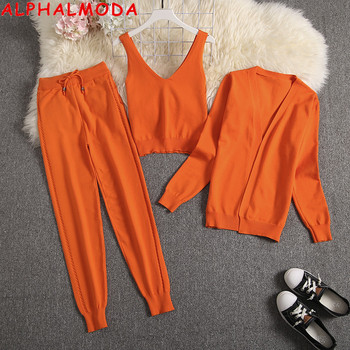 ALPHALMODA Spring Candy Color Knitted Cardigans + Camisole + Pants 3pcs Fashion Suit Women Seasonal Stylish Clothes Set 1