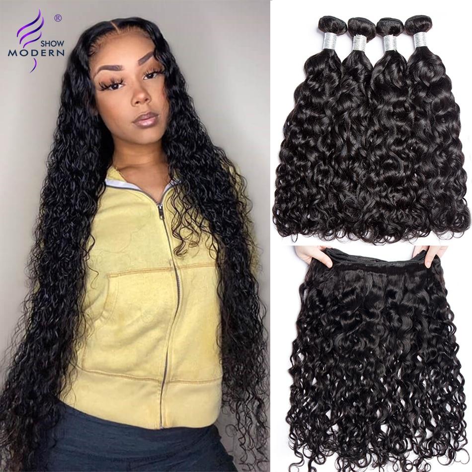 Moderno espectáculo cabello peruano extensiones con ondas al agua 1/3/4 Uds 28 30 pulgadas paquetes 100% brasileño del pelo humano de la armadura del pelo paquete no Remy