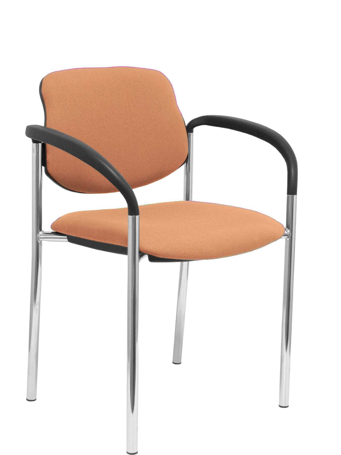 Confident Chair 4-leg And Estructrua Chrome Arms-Seat And Back Upholstered In Fabric BALI Brown