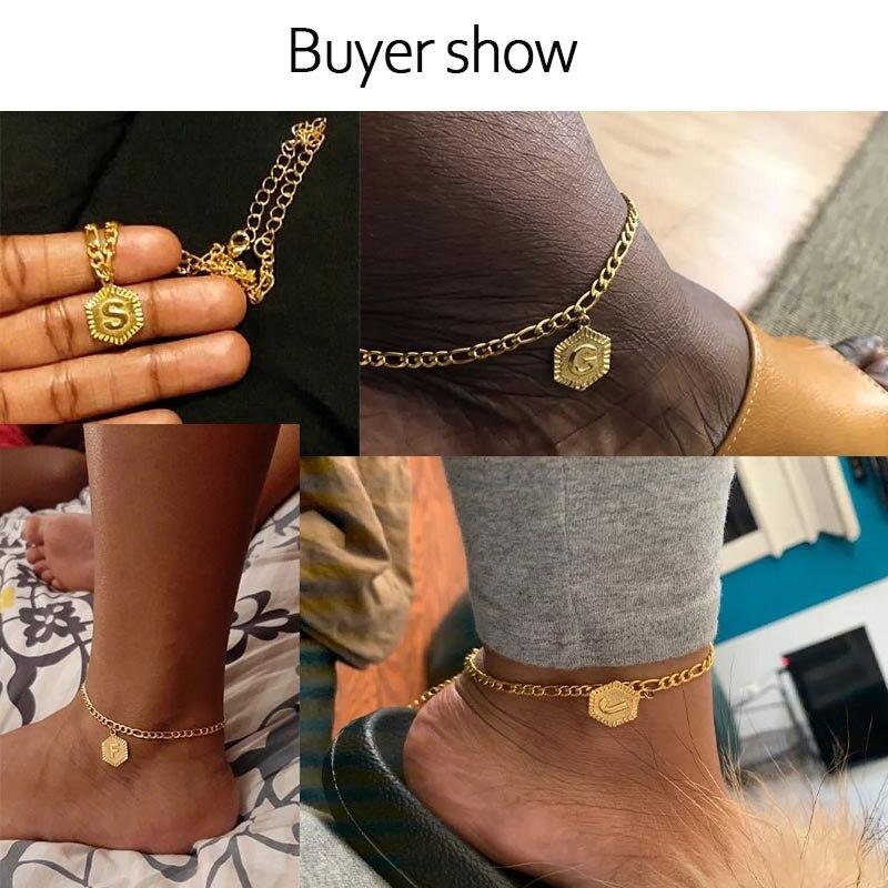 Initial Anklets Bracele for Women Stainless Steel Letter Leg Chain Gold Men Ankle Bracelet A-Z Alphabet Anklet Christmas Gifts 2