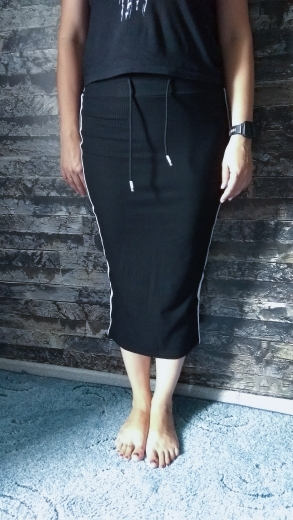 Side Stripe Rib Knit Drawstring Waist Skirt For Women Black Solid Pencil Skirts Womens Summer Bodycon Skirt photo review