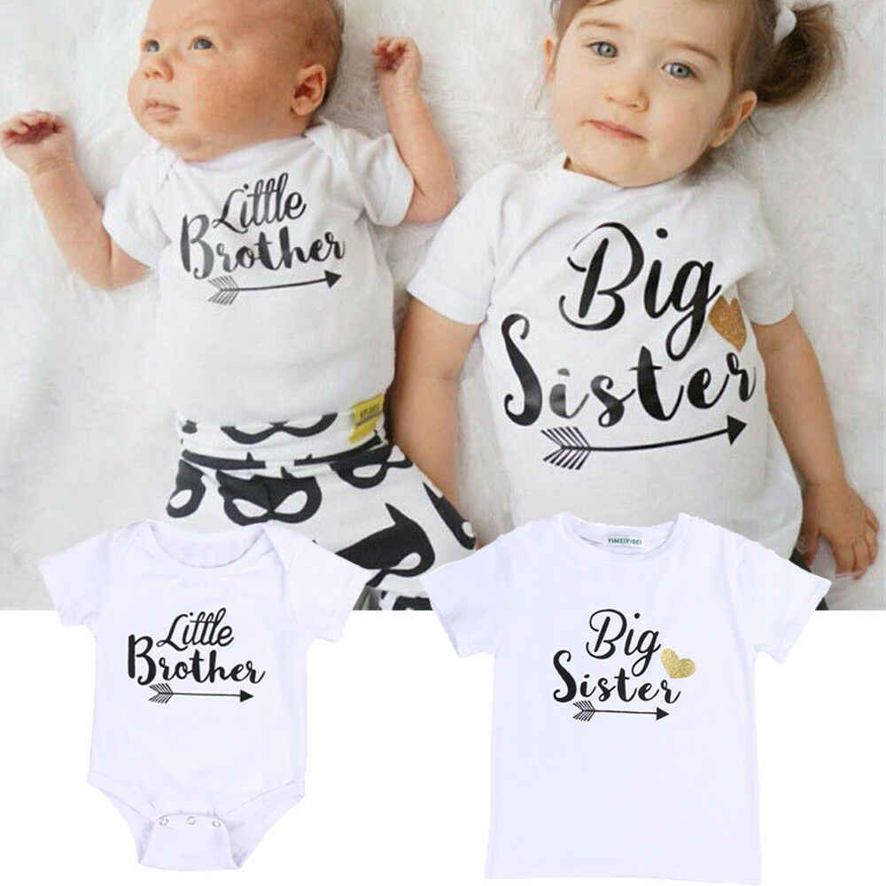 Newborn Baby Little Brother Romper Big Sister T-Shirt Clothes Outfits 2018 New Hot