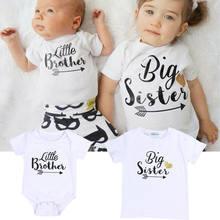 Camiseta grande irmão bebê recém-nascido, macacão irmã irmã novo 2018