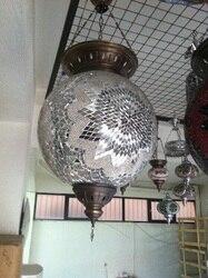 Biała turecka wielkoformatowa wisząca lampa mozaikowa  mozaika wisząca wisząca lampa sufitowa